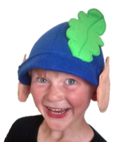 Young boy wearing hand made elf hat