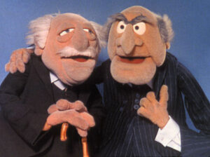 waldo and stadtler, 2 muppet puppets who are grumpy, comical old men